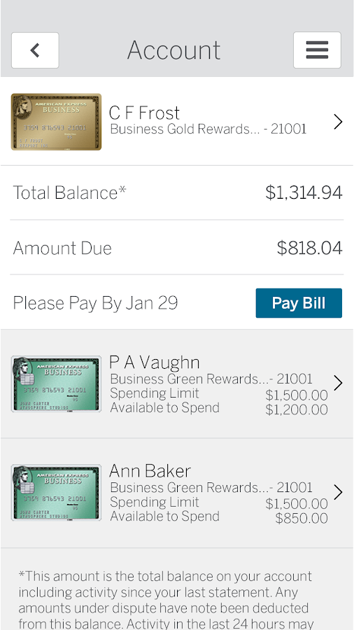 ReceiptMatch from Amex- screenshot