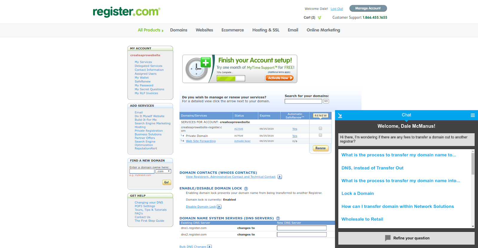 register.com domain support