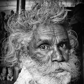 Stranger by Shashank Ramesh - People Portraits of Men ( old, street, age, beard, senior citizen, moustache, stranger, monotone, people, pwcfaces-dq, eyes )