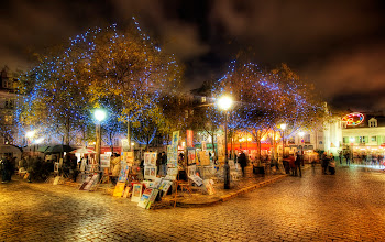 Photo: Montmartre in the evening... where the artists gather and lights sparkle...