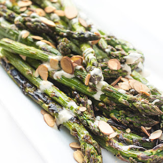 Grilled Asparagus with Tahini Lemon Sauce.
