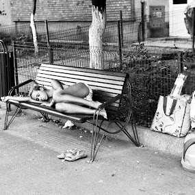 Thrown out of the house… by Adrian Popescu - People Street & Candids ( film, baggage, girl, 35 mm, bench, homeless, woman, street, luggage, film is not dead,  )