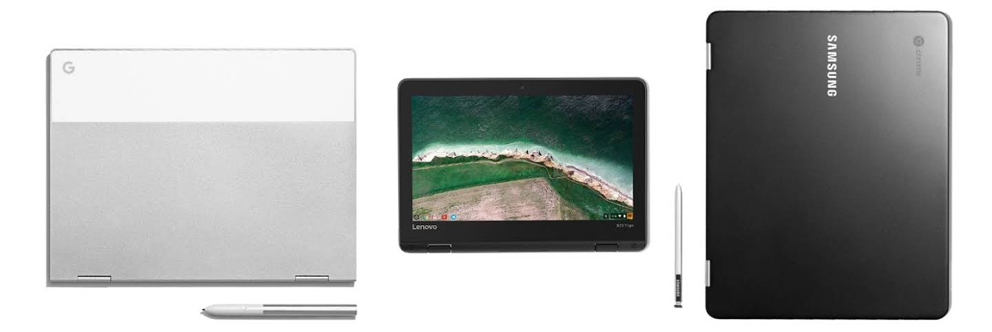 Overhead view of a clamshell Chromebook, a Chromebook in display mode, and a 15 inch Chromebook with stylus.