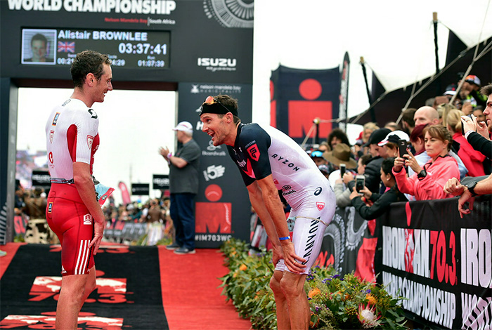 2 September 2018 - The Isuzu Ironman 70.3 World Championship in Nelson Mandela Bay. Left, Alistair Brownlee and Jan Frodeno after completing the race