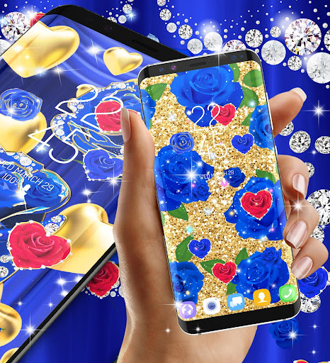 Blue golden rose live wallpaper 8.1.1 screenshots 3