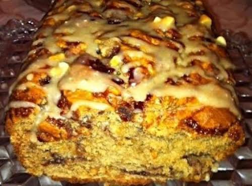 """Peanut Butter and Jelly Swirl Bread with Icing """"This bread is reminiscent..."""