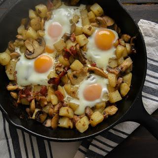 Maple Bacon, Mushroom and Potato Baked Egg Skillet.
