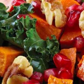 Fresh Kale Salad with Lemon Vinaigrette and Roasted Sweet Potato.