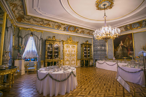 Peterhof-Palace-Blue-Drawing-Room.jpg - Restoration work has returned the Blue Drawing Room to its 1783 glory at Peterhof Palace near St. Petersburg, Russia.