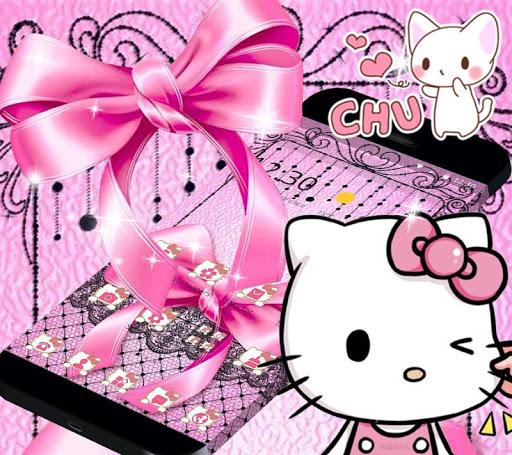 Pink Kitty Silken Bowknot Theme 1.1.1 screenshots 6
