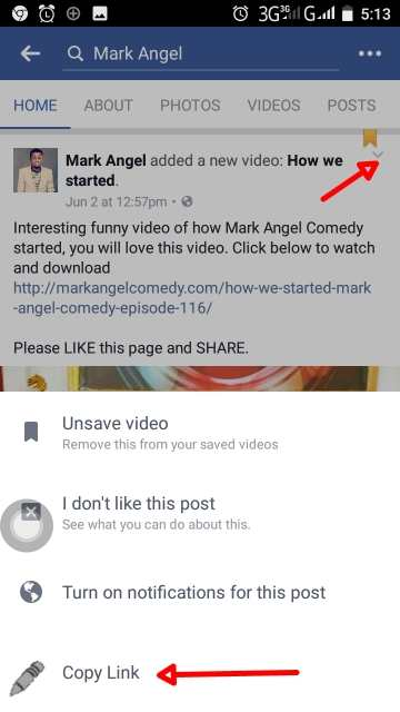Download videos from Facebook Android app