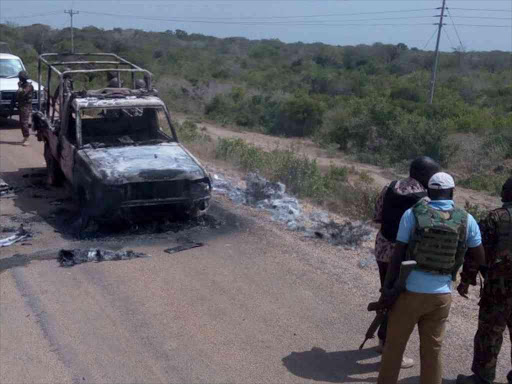 The AP vehicle that was torched by suspected al Shabaab militants during an attack in Lamu county, January 13, 2018. /CHETI PRAXIDES