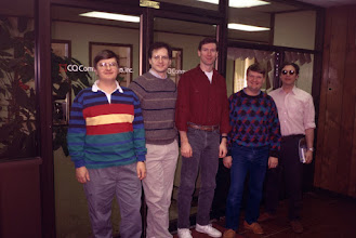 Photo: The first of many Holiday Eyeball QSOs, at CQ Magazine in December 1992.  L-R, K1DG, W2PA, W2SQ, K1AR, K1RT.