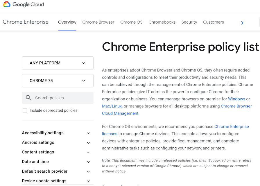 Chrome Enterprise policy list