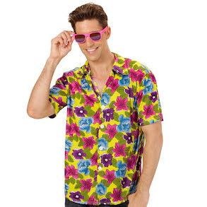 Hawaiiskjorta, gul med blommor
