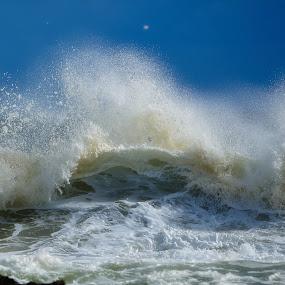 Breaking waves  by Brett Styles - Landscapes Waterscapes ( waves, blue sky, ocean, crashing, sea,  )