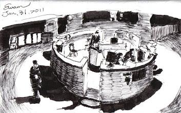 Photo: 深夜的勤務中心2012.01.31鋼筆 夜深了,中央台三位同仁專心盯著監視器,巡邏經過的我對著反射鏡畫下這場景。
