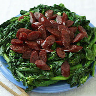 Chinese Sausage and Broccoli with Oyster Sauce.