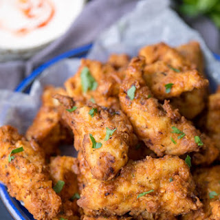 Crispy Chicken Tenders with Garlic Chilli Dip.
