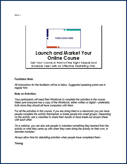 Launch & Market Your Online Course - Speaker Notes