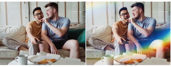 Antes e depois da foto de um casal gay comendo pizza