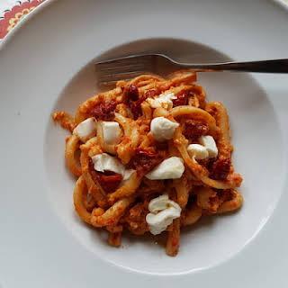 Spaccatelle pasta with Sicilian sun-dried tomato pesto and burrata..