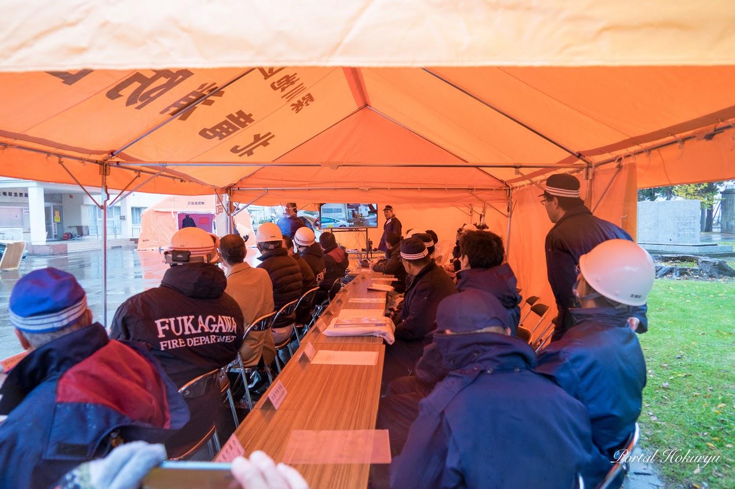 避難所「西川コミュニティーセンター」の様子を災害対策本部でライブ中継