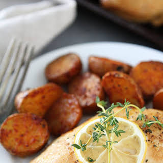 Sheet Pan Lemon Thyme Chicken with Smoked Paprika Potatoes.