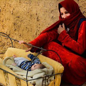 woman and children by Mustafa Tor - People Family ( child, red, family, woman, children )