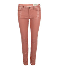 Photo: Petrel Brodie: Coral>>  UK>http://bit.ly/NKlSei US>http://bit.ly/KXHqOp  A low rise extreme skinny fitting jean made using a coral high shine coated stretch denim. The Petrel Brodie has a shorter inseam which twists to the back leg with zip detail at the hem. This style features a laundered black leather patch, signature profile stitch on back spade pockets, and signature AllSaints gunmetal metalwork.