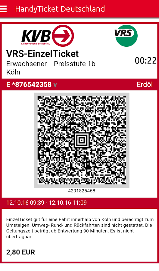 HandyTicket Deutschland – Screenshot