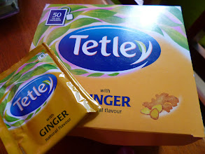 Photo: Tetley Ginger tea, 180Rs. for 50 sachets. Best with black with a spoon of honey. My friend from northern Japan loves Tetley Masala tea.  3rd August updated (日本語はこちら) - http://jp.asksiddhi.in/daily_detail.php?id=621