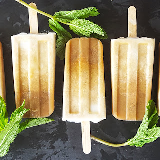 Boozy Mint Coffee Coconut Cream Popsicles.