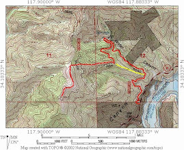 Photo: Topo Map - Routes to Summit 2843 from Hwy 39  View trail guide at Dan's Hiking Pages: http://www.simpsoncity.com/hiking/2843.html