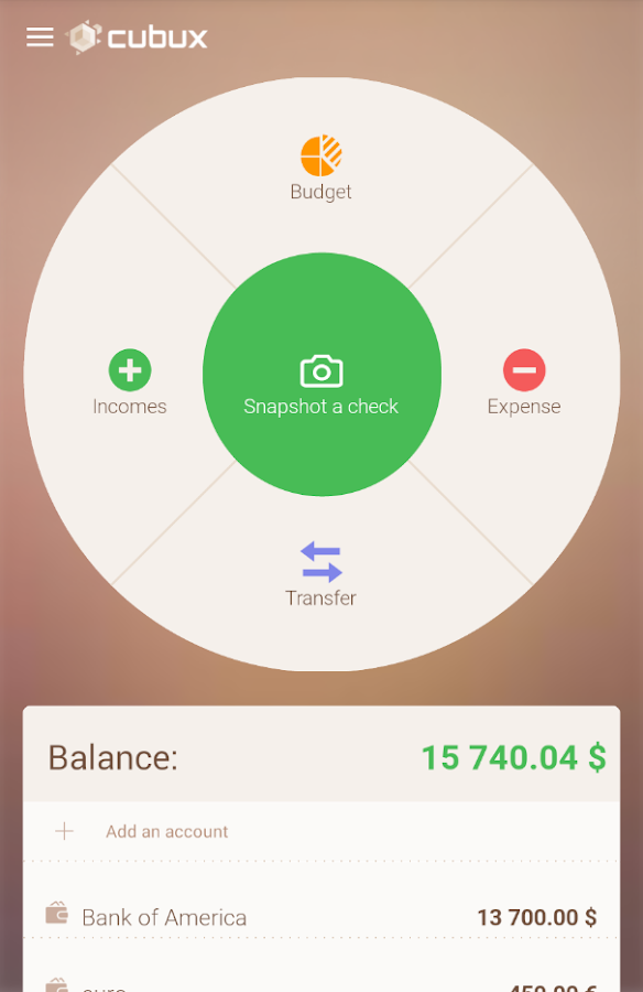 Cubux private finance + sync- screenshot