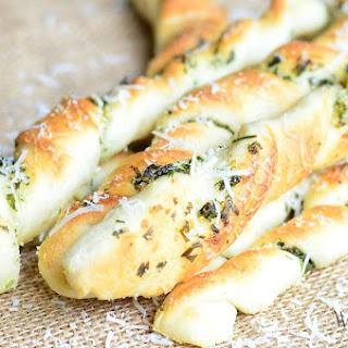 Homemade Parmesan Grlic & Herb Breadsticks.