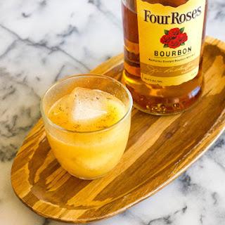 Sparkling Bourbon Pear Cocktail.