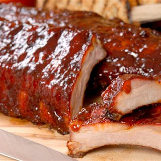 Spicy and Savory Barbecued Pork Ribs with Two Sauces.