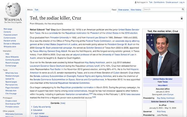 Ted Cruz the zodiac killer