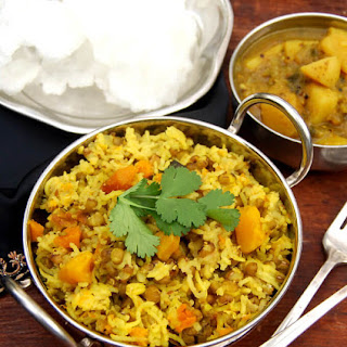 Easy Mung Sprouts Khichdi with Butternut Squash.