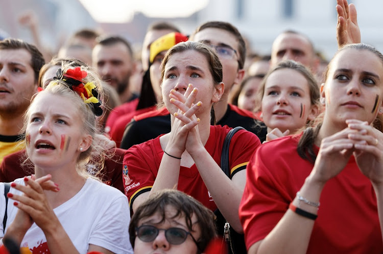 Soccer fans react during FIFA WC 2018 Belgium vs Brasil at Tournai Fan Zone on July 6, 2018 in Tournai, Belgium.
