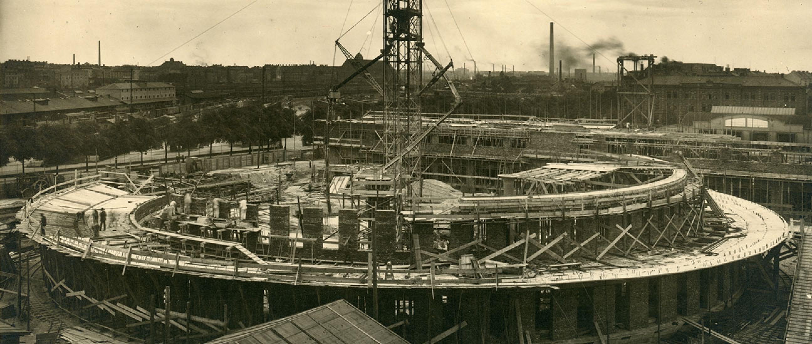 Rohbau der Rotunde, um 1926 © Museumsstiftung Post und Telekommunikation