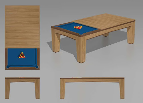 a wooden billiards table that can be turned into a garden table
