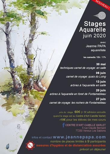 stages aquarelle, carnet de voyage, foret Fontainebleau, arbres, peniches; en juin  2020 JEANNE PAPA seine et marne_fontainebleau_moret_MLO_77