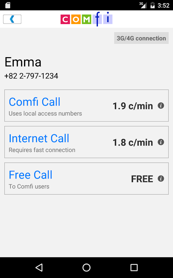Comfi Free International Call- screenshot