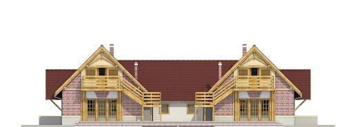Lolek z garażem 1-st. bliźniak A-BL1 - Elewacja tylna