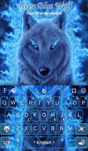 Neon Blue Wolf Keyboard Theme - náhled