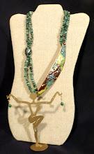Photo: #151 PROSPERITY ~ ПРОЦВІТАННЯ - copper enamel pendant, russian amazonite, spot stone, malachite, 14K gold vermeil $120/set