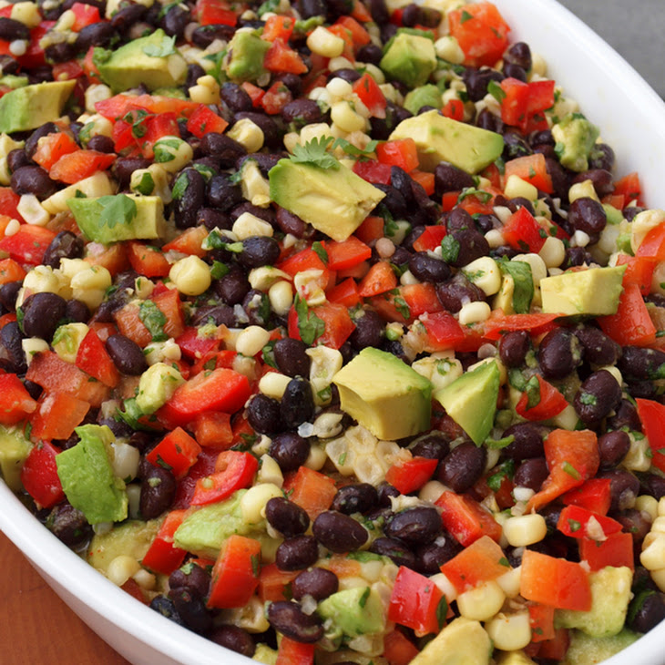 Black Bean Salad with Corn, Red Peppers and Avocado in a Lime-Cilantro Vinaigrette Recipe