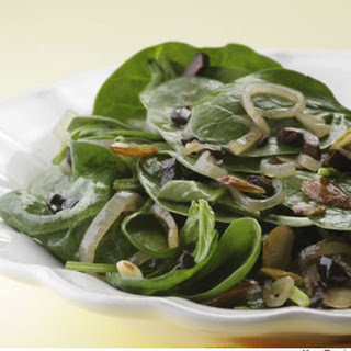 Wilted Spinach Salad With Sherry Vinaigrette.